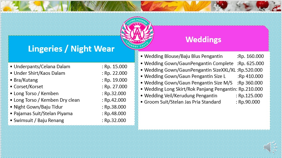 Our Price for Lingeries and Wedding Dress